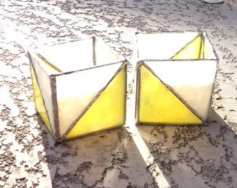 Stained Glass Candle Holder Yellow Triangle