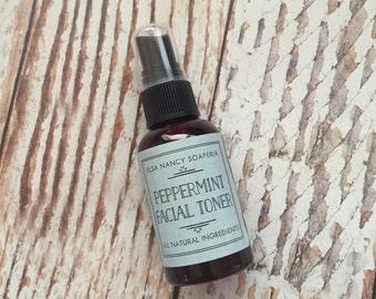 Peppermint Facial Toner, All Natural Ingredients, Organic Facial Toner, After Shave Spray, Hydrating Toner, Facial Toner, 4oz.