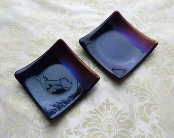 Pair of Small Fused Glass Plates in Iridescent Blue and Black