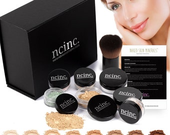 Luxury Mineral Makeup Boxed Starter Gift Set Kit : Bare Skin Minerals by NCinc. Complete Boxed Minerals Set with Kabuki Brush & Instructions