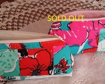 Lilly Pulitzer print pencil pouch, vintage Lilly fabric pouch, patchwork Lilly zipper bag, lined treasure bag, lined Lilly cosmetic bag