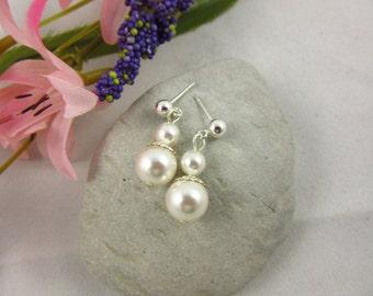 Sterling Silver June Birthstone Earrings Handmade Swarovski Pearl Dangle Earrings Birthday/Bridal/Bridesmaid/Graduation