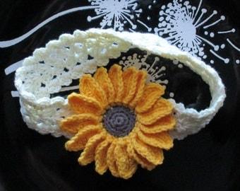 Crochet sunflower headband,Crochet sunflower hairband,Crochet cream headband,Crochet baby headband
