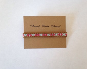 Friendship Bracelet, pink,blue brown bracelet, woven pattern bracelet