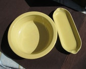 "Vintage Fiesta Ware, two pieces,91\2"" butter dish and  8 1\4"" bowl in Yellow"