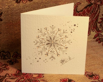 Snowflake Christmas Card (Hand Painted)