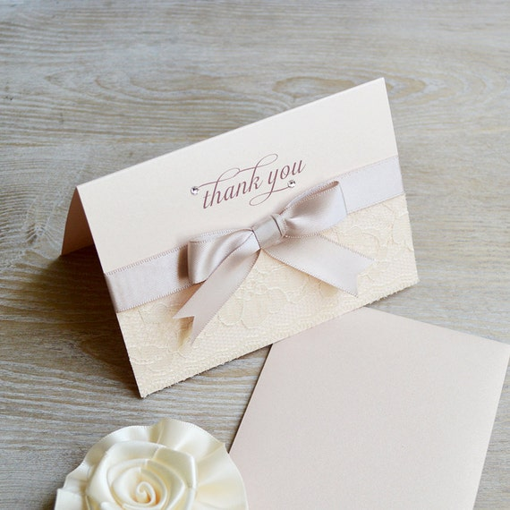 BLUSH LACE Thank You Cards - Blush Card with Ivory Lace, Blush Bow, and Swarovski Crystals - Blank Inside - Wedding - Bridal Shower