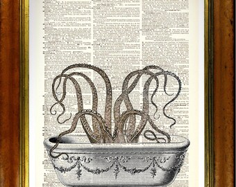 Octopus in the Bath - Vintage upcycled handmade dictionary Print - Suitable for the Bathroom - Surreal