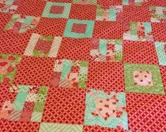 Hearts Quilt//Hello Darling fabric by Moda//16 patch//