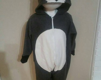 Raccoon Costume Sleeper Halloween Dress Up , Play Clothing, girl , boy grey with tail Size 6 Ready To Ship