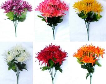 Artificial Spider Mum / Chrysanthemum Posy Bouquet Silk Artificial Flowers