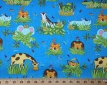 Jungle Fabric By the Yard, Half, Fat Quarter Baby Animals Tiger Lion Giraffe Monkey Hippo Elephant Ladybug Blue Cotton Quilting t/s 6