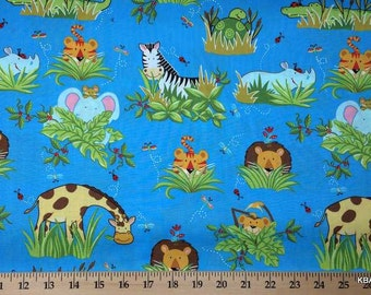 Jungle Fabric By the Yard, Half, Fat Quarter Baby Animals Tiger Lion Giraffe Monkey Hippo Elephant Ladybug Blue Cotton Quilting t/s 6