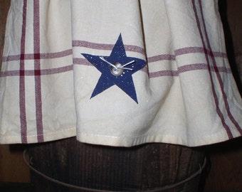 "Americana Tea Towel Navy Star Burgundy Stripes Tea Towel Tea Stained Cotton Tea Towel 20"" x 25"" Navy Barn Star"