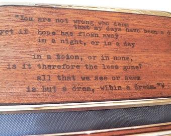 big rolling machine cigarette case in mahogany wood edgar allen poe poetry cig