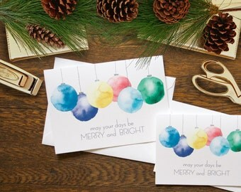 Merry and Bright Stationery - set of 12 folded cards + envelopes