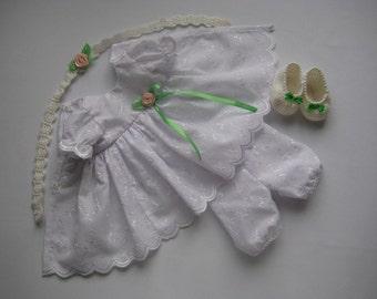 15-17 inch waldorf doll clothes dress, clothing set, hand knit Dress, hat, socks