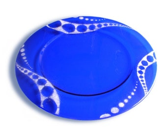 Serving dish, placemat in blue and white Murano glass-Flux Series