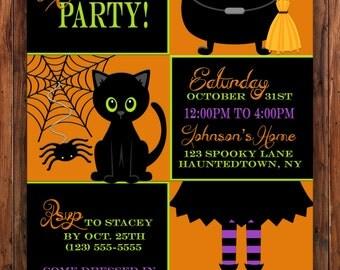 Halloween Party Invitation, Halloween Birthday Invitation, Black Cat Invite, Costume Party Invitation, Witch Invite, Spider Invitation, Kids