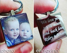 Color Photo Personalised Metal Keyring, Engraving On Reverse, Father's Day Gift
