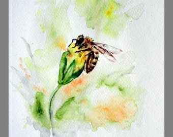 """Original Water Color Painting, Bee on Yellow flower, 160410, 8""""x10"""""""