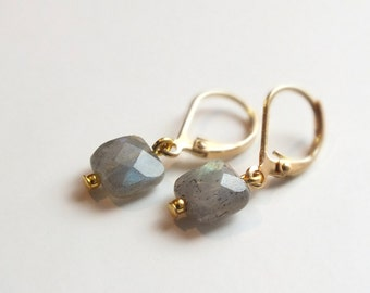 "Earrings ""Line"", Labradorite gemstone"