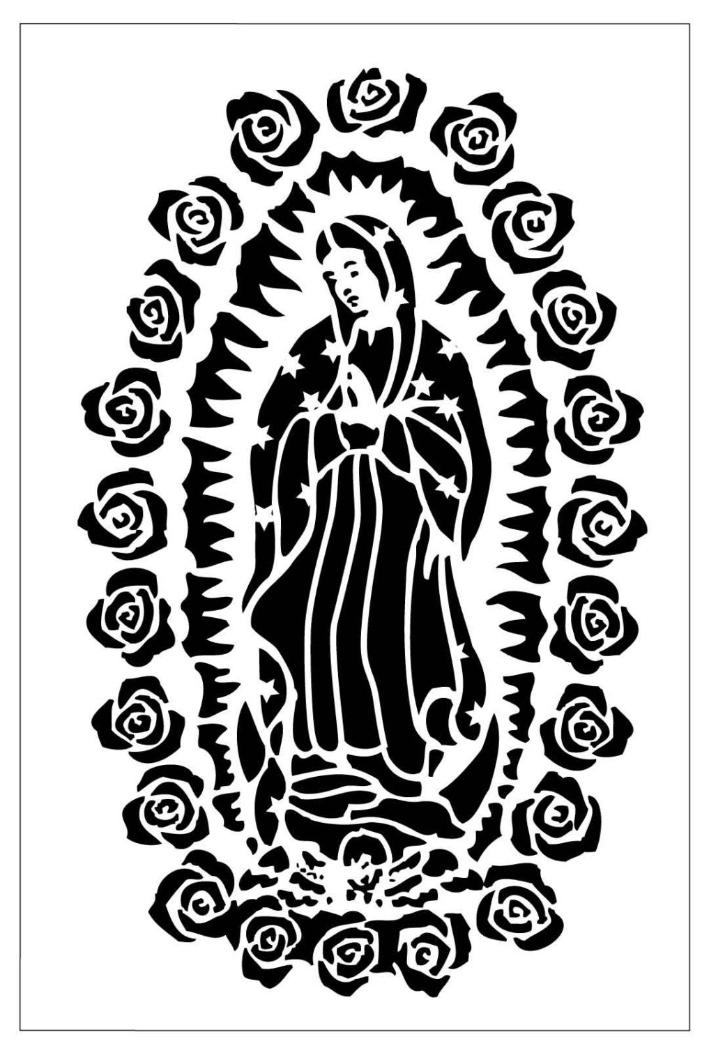 Chr01 Reusable Laser Cut Stencil Of Our Lady Of Guadalupe