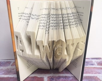 Harry Potter Folded Book, Harry Potter Always, Folded Book Art, Gift for Harry Potter Lover, Harry Potter Gift, Christmas Gift, Book Lover