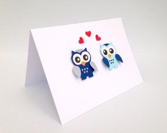 Blue owl ~ handmade greeting cards ~ paper handmade greeting cards ~ cards for him ~ Valentines day card ~ Wedding card congratulations