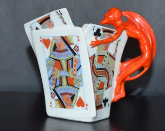 Royal Bayreuth Devil & Cards Creamer Blue Mark 1900 Figural Porcelain Bavaria Playing Cards Red Devil Handle Turn of Century Period