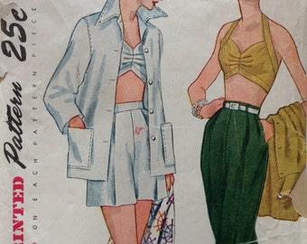 Simplicity 3250 misses jacket, bra, shorts & pedal pushers size 12 bust 30 vintage 1950's sewing pattern