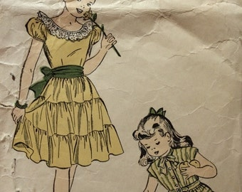Advance 4854 girls peasant dress w/tiered skirt  size 10 vintage 1940's sewing pattern