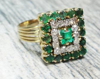 Vintage 14k Gold Emerald Diamond Ring 14k Yellow Gold Genuine Emerald Ring Vintage Emerald Ring Natural Emerald Diamond Ring Size 6 1/2