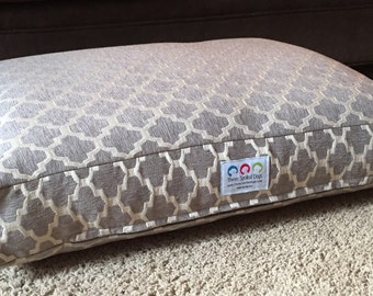 Dog Bed * NEW * Light Grey * Small Medium * Signature Hayden * River Rock * Geometric Chenille * Personalize * Custom Pillow Cover * Dogbed