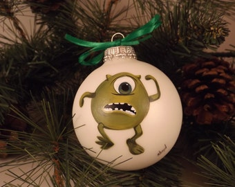 Hand painted glass Christmas ornament, 2 5/8 inch; Monsters Inc; Mike Wazowski