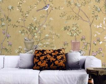 Vintage Taupe Chinoiserie Wallpaper Flower Branch Birds Peach Plum Bonsai  Trees Wall Mural Retro Chinese Japanese