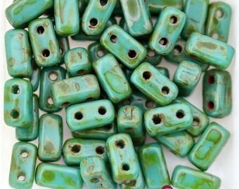 50pcs CzechMates 2 hole brick beads Persian Turquoise PICASSO 3x6mm [B24]