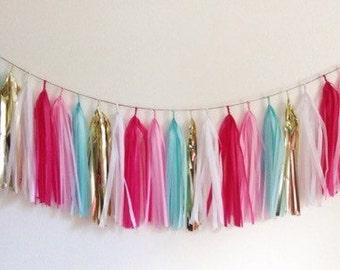 Pink Flamingo tissue paper tassel garland
