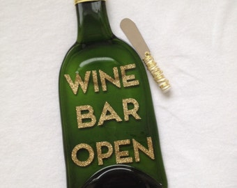 WINE BAR OPEN Melted Wine Bottle Tray Spoon Rest by The Wine Lady