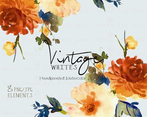 Digital Clipart- Watercolor Flower Clipart, Vintage Clip art, Floral Bouquet Clipart, wedding flowers clip art- Vintage White Elements