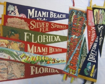 Vintage Felt Travel Pennants - Florida -Silver Springs, Miami Beach, Rainbow Springs, Daytona Beach