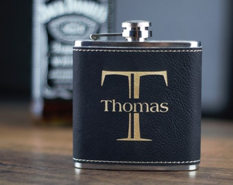 Black Leather Flask, Groomsman Gift, Best Man, Personalized Gift, Personalized Groomsmen Flask Wedding Gift, Leather Wrapped Flask