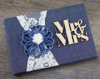 Denim guest Book, Denim & Lace Guest book, Denim Guest Book, Rustic Wedding Guest Book, Personalized Guest Book, Wedding Guest Book