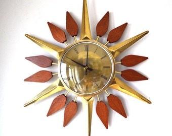 60s mid century Anstey & Wilson starburst sunburst wall clock