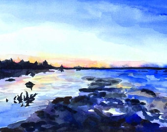 """Fine Art Painting Reproduction of watercolor landscape """"Dusk at High Tide"""""""