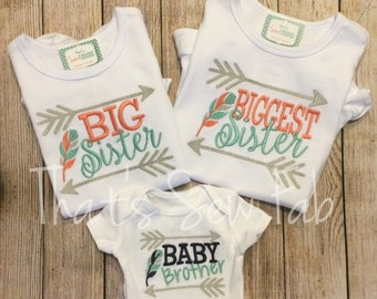 SET OF 3 Brother Sister Arrow Matching Sibling shirts