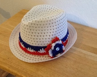 Summer Straw Hat with crocheted ribbon band