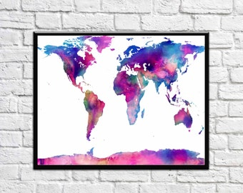 World Map Prints Large World Map Poster World Map Watercolor Map Poster Map Colorful Large Map Gift World Map Gift