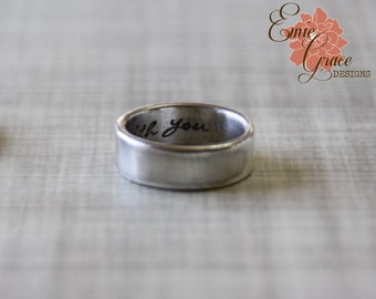 Sterling Silver Personalized Men's Ring, Thick Band, Hidden Message, Stamped Ring