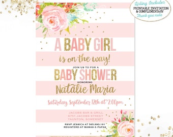 Girl Baby Shower Invitation Pink and Gold Baby Shower Invitation Pink And Gold Floral Baby Shower Invitation Girl Baby Shower Invitation